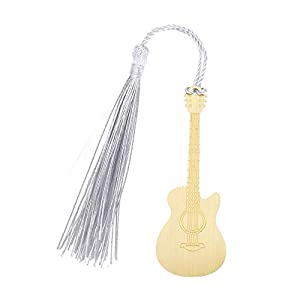 Bookmark, Classic Copper Creative Handmade Guitar Shape Bookmark with Tassel for Gift