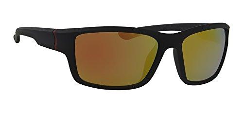 Sonnenbrille LG085F2 Sport Brillen Fassung schwarz rot, Linse rot verspiegelt