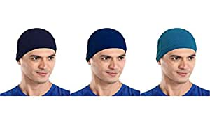 The Blazze Cotton Helmet Cap (Free Size, Navy+Royal Blue+Turquise Blue)