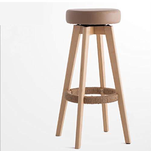 Barstuhl, Barhocker, Barhocker Europäischer drehender Sitzkaffee Barhocker Bank kann die Höhe nicht einstellen -65cm, 74cm dickes Schwammkissen Multi Color ( Color : Brown , Size : 74cm )