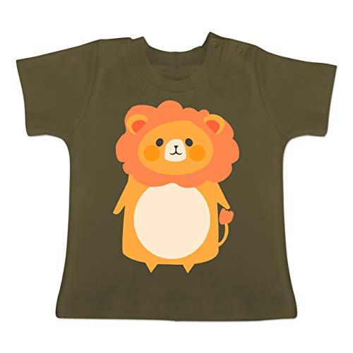 Karneval und Fasching Baby - Fasching Kostüm Löwe - 18-24 Monate - Olivgrün - BZ02 - Baby T-Shirt Kurzarm (Neugeborene Lion Kostüm)