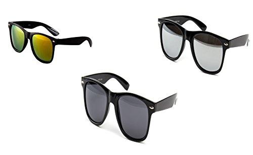 3 er Set Nerd Sonnenbrille Partybrille Festival Sunglass Stil Brille Schwarz Feuer Dunkel Spiegel D60