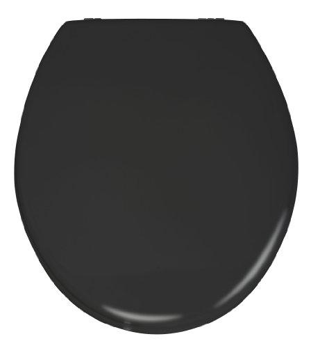 WENKO 20077100 Seduta WC Prima nero satinato - per WC con cassetta a zaino, MDF (Pannello fibra di legno pressato), 38 x 41.5 cm, Nero