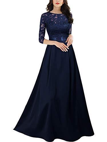 MIUSOL Damen Elegant Ärmellos Rundhals Vintage Spitzenkleid Hochzeit Chiffon Faltenrock Langes Kleid - Lange Abendkleider