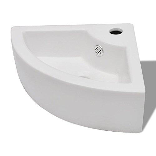 Lavabo de Cerámica de Cuarto de Baño Blanco Agujero de Grifo y Desbordamiento Esquina