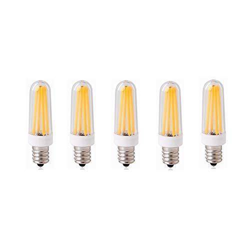 HHF LED Bulbs Lamps, LED-Lampen E12 Sockel, AC100-130V Dimmbar, 4 Watt, 350 Lumen, COB-Filament, E12-Sockel (Kerze/Kandelaber), 3000K / 6000K, 40W-Äquivalent, 5-Pack (Farbe : Warmweiß) - Watt-kandelaber-kerze-sockel-lampe