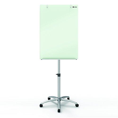 Nobo Diamond - Caballete móvil cristal, superficie con facilidad de borrado extrema, altura ajustable, adecuado para rota folios, color blanco