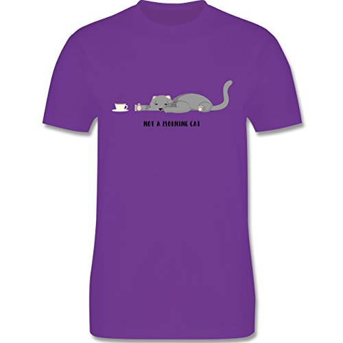 Sprüche - Katze not a morning cat - Herren Premium T-Shirt Lila