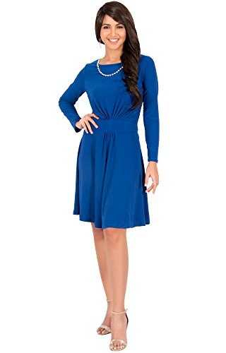 KOH KOH® Damen Rund-Ausschnitt Langarm Midikleid Rüschen Knielang Cocktail Kleid, Farbe Kobalt / Royalblau, Größe M / Medium (Kostüme Maternity Cute Halloween)