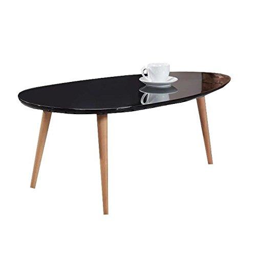 STONE Table basse 88 cm - Laqué noir brillant