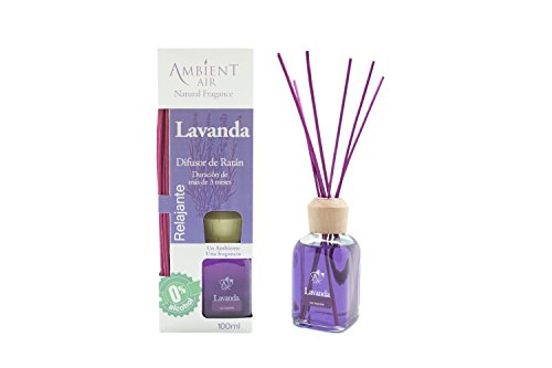 Ambientair Mikado Air Freshener for Home, Aroma Lavender, Crystal, Purple, 8 x 8 x 24 cm