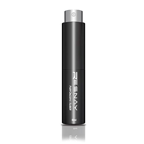 Resnay Parfümzerstäuber / Taschenzerstäuber 8ml, nachfüllbar - Ideal für unterwegs / Reise / Clubs - mattschwarz (Schwarz)