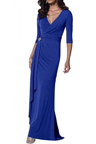 Toscana sposa elegante V-taglio Chiffon stanotte vestimento per madre un'ampia Party ball abiti da sposa Blu Royal