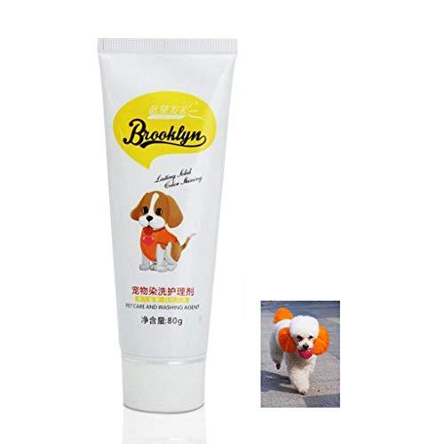 Fuwahahahah Haarfärbegel für Hunde, 80 g, natürlich, gesunde Färbung Creme, ungiftig, Fruchtgeschmack, Nährstoffpflege, leuchtende Farben, kreative Haustierpflege. Orange - Semi Permanent Creme Farbstoff