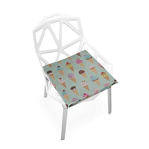 Enhusk Bunte Baby Eiscreme weiche rutschfeste quadratische Gedächtnisschaum Stuhlauflagen Kissen Sitz für Hauptküche Esszimmer Büro Schreibtisch Möbel Innen16x16 Zoll - Kegel Sitz