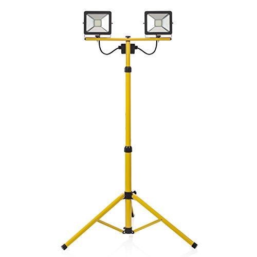 Smartwares CLT-S40-Y Ultraflacher Doppelter LED-Baustrahler auf Stativ, 2 x 20 Watt, 2x 2500 Lm [Energieklasse A+], 20 W, Gelb