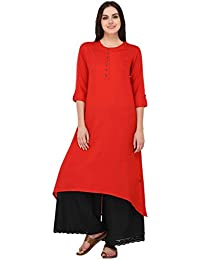 Pistaa Red Solid High Low Hem Kurta With Plus Size