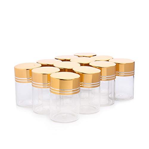 Ssowun 15ml Mini Glasflaschen Leer 12 PCS,Klein Glasflaschen Flasche Ätherisches Öl Nachfüllbar Flasche Kleine Glasflaschen für Flüssige Parfums EINWEG Verpackung -