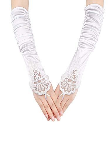 FORLADY Lange Fingerlose Abend Handschuhe Satin Elbow Handschuhe Braut Kostüm Handschuhe Hochzeit Prom Opera Handschuhe Runzlig Nagel Bead Gestickte Spitze Half Finger Gloves