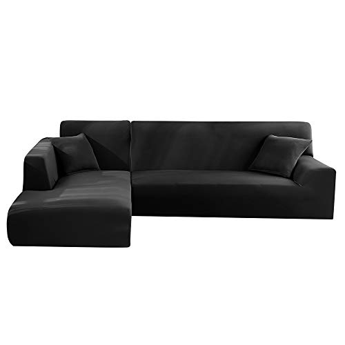 Dandelionsky Sofabezug Sofaüberwürfe für L-Form Sofa elastische Stretch Sofabezug 2er Set für 3 Sitzer + 3 Sitzer(190-230cm) / 4 Sitzer(230-300cm) (Schwarz, 3 Sitzer + 3 Sitzer)