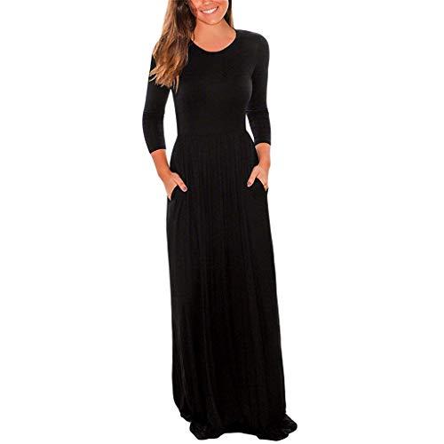 EUCoo Herbstfrauen Kleid Rock Herbstkleid Milchseide Kleid Sieben Viertel ÄRmel Langes Kleid Einfarbig Tasche Freizeitkleidung Langen Bleistiftkleid