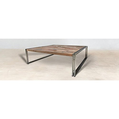 PierImport Table Basse carrée Bois recyclé 120X120 CARAVELLE