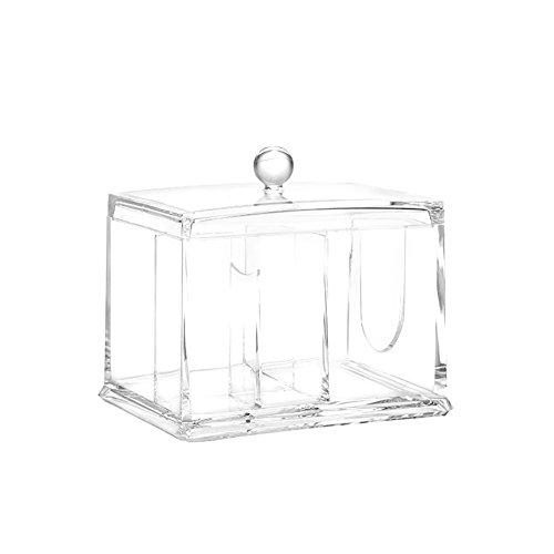 lameida Acryl Wattestäbchen Aufbewahrungsbox Transparent Baumwolle Pads Speicher Multifunktions Schmutz Finishing Box, weiß, 15*11*10.8cm -