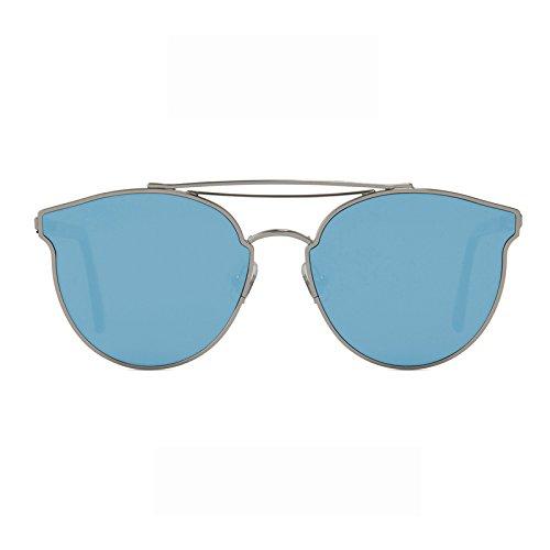 Unisex Sonnenbrille Für sanfte Monster-Sonnenbrille New Gentle man or Women Monster eyeware V brand Add moon 02(11m) sunglasses for Gentle monster sunglasses -silver frame Flat pacific blue mirrored lensess