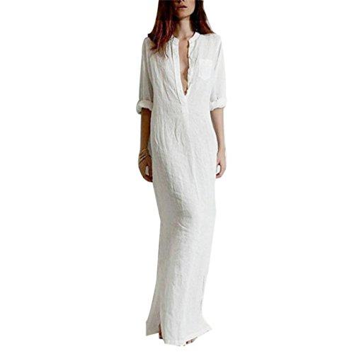 ❤️ Damen Abendkleid Maxikleid, ❤️ Damen Party Club Kleider Lange Ärmel Kleid | ❤️ Schulter Faltenrock | 50er Vintage Retro Kleid | Kleidung Unter 10 Euro | Sommerkleid (M, Weiß)