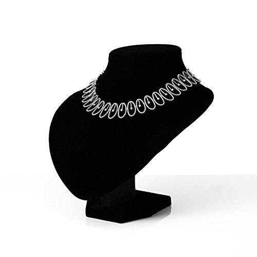 Epinki Plaqué Argent Creux Ovale Cristal Collier Pierre Pour La Mariée Mariage 2 Couleurs En Option Blanc