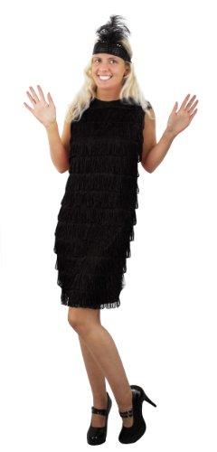 Charleston,Flapper Kostüm für Damen in der Farbe schwarz und der Grösse (Woogie Tanz Boogie Kostüm)