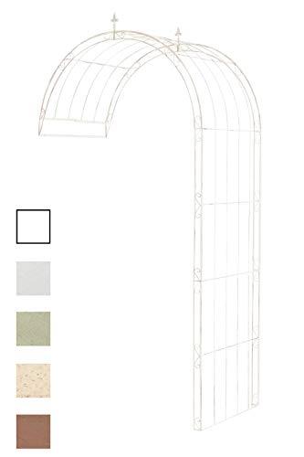 CLP Rosenbogen Pietro halbrund zur Wandbefestigung | Wand-Rankhilfe aus massivem Eisen Antik Creme, 152 x 80 x 260 cm
