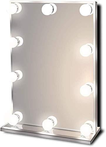 Star Vision Hollywood Spiegel mit Beleuchtung, Beleuchteter Schminkspiegel für Schminktisch, 10 Dimmbare LED-Lampen, Mehrere Farbmodi, Tischplatte oder Wandhalterung, Standard