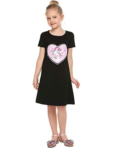 Bricnat Mädchen Kleid Kurzarm Baumwolle Einhorn Pailletten Herz Love Drucken Kleid Casual T-Shirt Kleid Mädchen Glitzer-Kleid Sommer Kleider Täglich Kleid Größe 110-150 (Pailletten-kleid Für Mädchen)