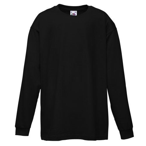 Fruit Of The Loom Childrens/Kids Unisex Valueweight Long Sleeve T-Shirt (12-13) (Black)