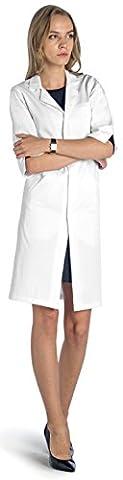 Dr. James Blouse Blanche de Laboratoire Femme Manches Courtes Taille 34 FR-17-A