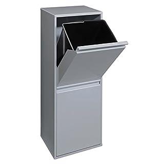ARREGUI - Mülleimer aus Stahl mit 2Fächer + Abfallbehälter, silberfarbig