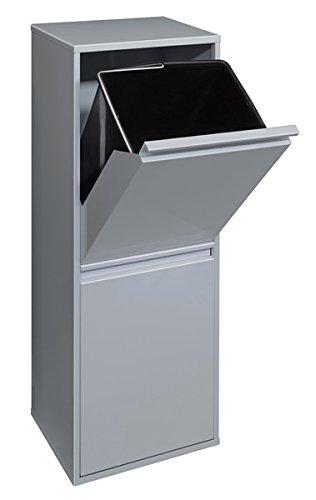 Arregui Basic Cubo de Reciclaje de Acero con 2 Compartimentos y 2 Cubetas, Plata