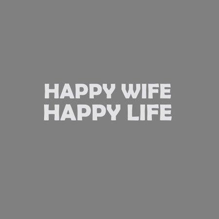 TEXLAB - Happy Wife Happy Life - Langarm T-Shirt Dunkelblau
