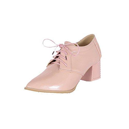 VogueZone009 Damen Pu Leder Mittler Absatz Spitz Zehe Rein Schnüren Pumps Schuhe Pink