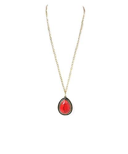 LUX Zubehör Gold & Coral Cabochon Anhänger Halskette