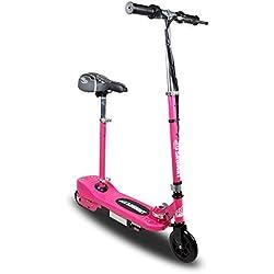 Patinete electrico para Niños - Rosa Plegable con Asiento Scooter Mini con Silla y Acelerador