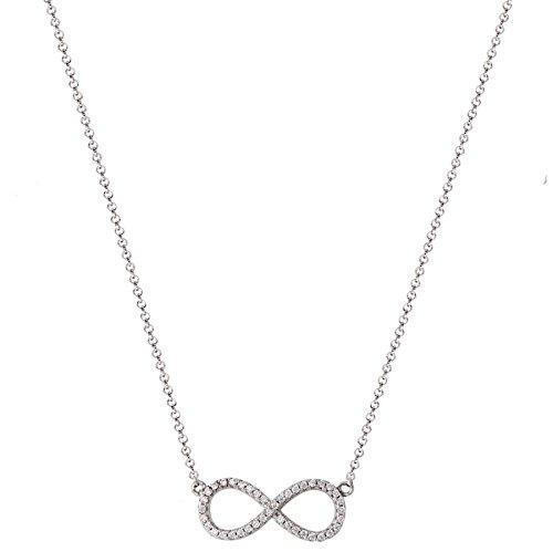 XENOX XS2765 Damen Collier Unendlich Symbolic Power Sterling-Silber 925 Silber weiß Zirkonia 45 cm