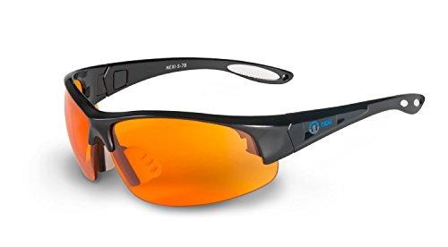 Nexi Sportbrille Sonnenbrille mit Anti-Fog Beschichtung S-7B, schwarz/orange