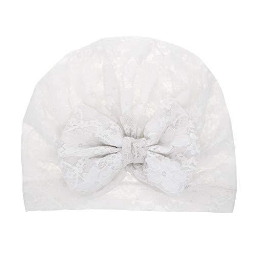YWLINK Neugeborenes Baby MüTze Kopftuch MäDchen Verknotet Sommer Atmungsaktiv Bequem Lace Bow Hate Beanie Kopfbedeckung Deckel Hut(Weiß,19x16cm)