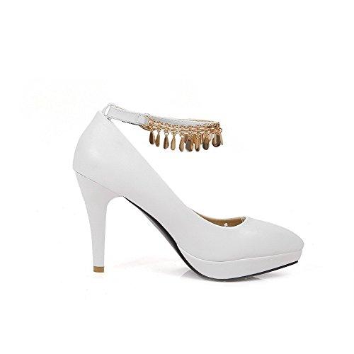 AgooLar Femme Mosaïque Pu Cuir à Talon Haut Pointu Boucle Chaussures Légeres Blanc
