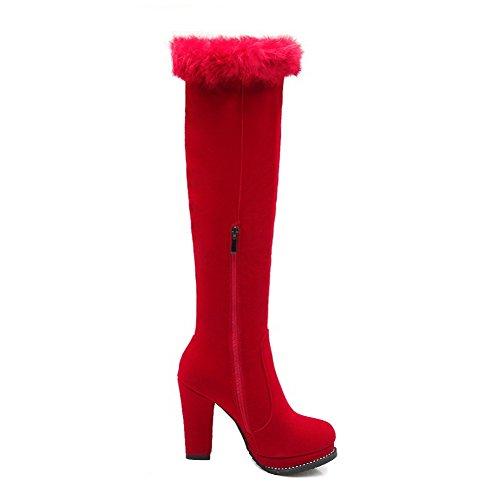 AgooLar Damen Mattglasbirne Reißverschluss Rund Zehe Hoher Absatz Hoch-Spitze Stiefel Rot