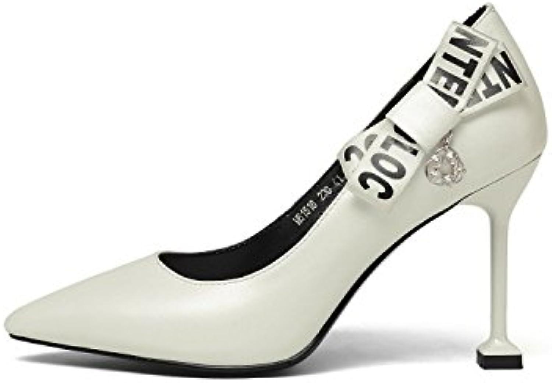 5b888f2adf79 MUYII Women s Spring Summer Shallow Shallow Shallow Mouth High Heels Women s  Leather Pointed Shoes B07D26KV1D Parent 5d1ce6