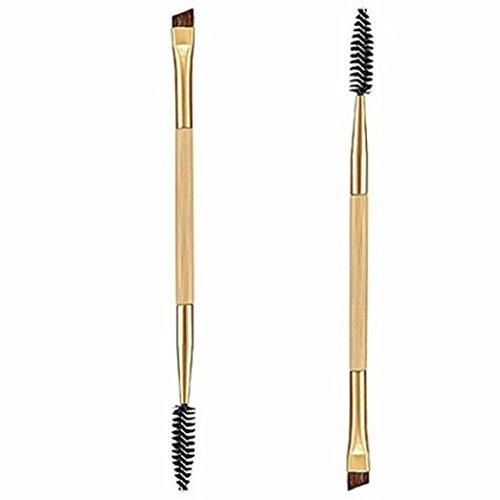 Boyasing 1PCS Makeup Bamboo Handle Double Eyebrow Brush + Eyebrow Comb