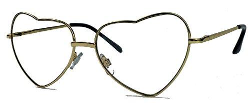 Retro Sonnenbrille Herzform Metall Rahmen Aviator Herzbrille (Nerdbrille gold / clear lens) (Metall Damen Kostüme)